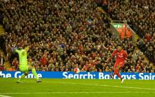 Liverpool's Daniel Sturridge scores the team's third goal against Everton in the English Premier League at Anfield on 20 April 2016. Picture: Liverpool official Facebook page.