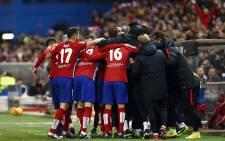 Atlético de Madrid celebrate after their match against Barcelona. Picture: @atletienglish via Twitter.