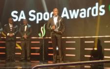 Long jump world champion Luvo Manyonga collects his SA Sports Award on 12 November 2017. Picture: @SPORTandREC_RSA/Twitter