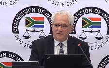 FILE: A video screengrab of Dr Danial Kaufmann appearing at the Zondo Commission on 19 September 2018.