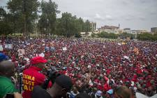 """FILE: EFF leader Julius Malema watches on over the """"Day of Action"""" march against the leadership of President Jacob Zuma held in Pretoria on 12 March 2017. Picture: Reinart Toerien/EWN."""