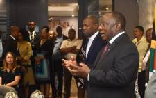 President Cyril Ramaphosa (R) and Health Minister Zweli Mkhize (L) at a media briefing at OR Tambo International Airport on 10 March 2020 on the repatriation of 122 South Africans from Wuhan, China, following the COVID-19 outbreak. Picture: @PresidencyZA/Twitter.