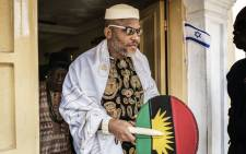 In this file photo taken in 2017, political activist and leader of the Indigenous People of Biafra (IPOB) movement, Nnamdi Kanu, leaves his house in Umuahia, southeast Nigeria, to meet veterans of the Nigerian civil war. Picture: MARCO LONGARI/AFP