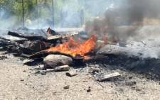 Unrest just outside the Kubjana informal settlent in Limpopo. More police have been deployed to monitor the situation. Picture: Reinart Toerien/EWN