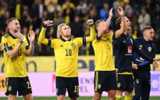 Sweden players celebrate their win over Spain in their 2022 World Cup qualifier on 2 September 2021. Picture: @EURO2020/Twitter