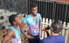 Anaso Jobodwana interviewed after a race. Picture: @ColinFrancke/Twitter