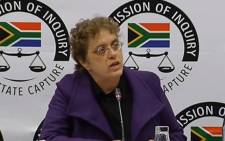A screenshot of Advocate Marike de Kock testifying at the state capture commission on 2 April 2019. Picture: SABCNews/Youtube