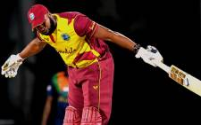 West Indies captain Kieron Pollard hit six sixes in a match against Sri Lanka on 3 March 2021. Picture: @ICC/Twitter.