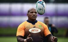 South Africa hooker Bongi Mbonambi takes part in a training session at Fuchu Asahi Football Park in Tokyo on 22 October 2019, ahead of their Japan 2019 Rugby World Cup semifinal against Wales. Picture: AFP