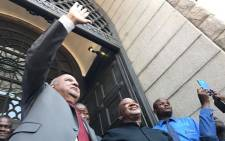 Outgoing Finance Minister Pravin Gordhan and Deputy Finance Minister Mcebisi Jonas speaks outside Treasury after being axed in a Cabinet reshuffle.  Picture: Barry Bateman/EWN