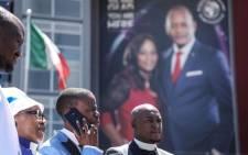 "Pastor Paseka ""Mboro"" Motsoeneng outside the Alleluia International Ministries in Sandton on 28 February 2019. Picture: Abigail Javier/EWN"