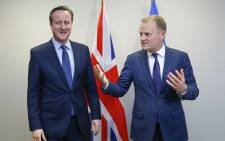 British Prime Minister David Cameron and European Council President Donald Tusk attend a bilateral meeting ahead of a European Union leaders summit addressing the talks about the so-called Brexit and the migrants crisis, in Brussels, Belgium, 18 February 2016. Picture: EPA/YVES HERMAN/ POOL