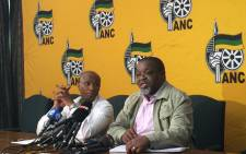 The ANC's Zizi Kodwa and Gwede Mantashe at a press briefing in Johannesburg on 8 October 2015. Picture: Govan Whittles/EWN.