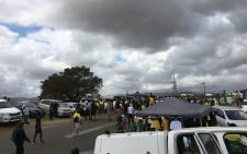 Supporters of former President Jacob have gathered in Nkandla ahead of his address on 4 July 2021. Picture: Nkosikhona Duma/Eyewitness News.