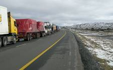Trucks stranded in the Karoo following heavy snowfall. Picture: Allan Jansen/iWitness