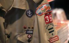 A Boy Scout uniform hangs in a store at the Marin Council of the Boy Scouts of America. Picture: AFP.