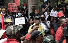 SABC employees picketed outside their offices on 19 November 2020. The employees of the embattled public broadcaster are protesting against retrenchments that could see hundreds lose their jobs. Picture: Xanderleigh Dookey Makhaza/EWN