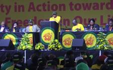 Convenor of the African National Congress Youth Leagues (ANCYL) National Task Team, Fikile Mbalula, addresses the crowed during the youth league's the 25th National Congress on 4 September 2015. Picture: Kgothatso Mogale/EWN.
