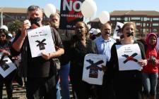 The three suspended SABC journalists from left Foeta Krige, Thandeka Gqubule & Suna Venter. Picture: Christa Eybers/EWN.