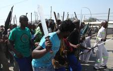Lonmin workers march, demanding better wages. Picture: Taurai Maduna/EWN.