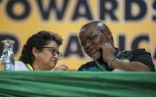 FILE: Gwede Mantashe and Jessie Duarte chat during the nominations process at the ANC's national conference on 17 December 2017. Picture: Ihsaan Haffejee/EWN