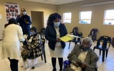 The elderly are guided through the admin process ahead of vaccination at a Krugersdorp old age home on 17 May 2021. Picture: Zweli Mkhize/Twitter