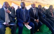 North West Premier Supra Mahumapelo and the province's education MEC Sello Lehari at Moshoeu's funeral. Picture: Hitekani Magwedze/EWN.