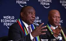 President Cyril Ramaphosa addresses delegates at the World Economic Forum in Davos, Switzerland on 23 January 2019. Picture: @PresidencyZA/Twitter