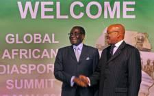 President Jacob Zuma welcomes Zimbabwean President Robert Mugabe to the African Diaspora. Picture: GCIS.