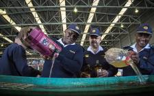 Acting Western Cape Police Commissioner Major General Thembisile Patekile (L) headed the disposal of 10 000 litres of confiscated alcohol from unlicensed liquor vendors in the Western Cape. Picture: Thomas Holder/EWN