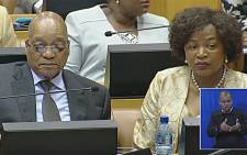 FILE: A screen grab of President Jacob Zuma and parliamentary Speaker Baleka Mbete . Picture: YouTube.