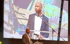 Lucas Radebe breaks down in tears as he speaks at Phil Masinga's memorial service on 21 January 2019. Picture: @BafanaBafana/Twitter.