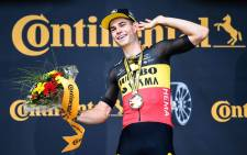 Wout van Aert celebrates his win on the 11th stage of the Tour de France on 7 July 2021. Picture: @JumboVismaRoad/Twitter