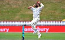 New Zealand's Ajaz Patel bowls during day five of the first Test cricket match between New Zealand and Sri Lanka at the Basin Reserve in Wellington on 19 December, 2018. Picture: AFP