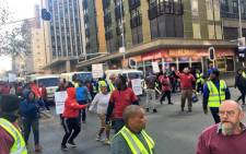 Security workers and G4S vans seen during a protest in Johannesburg against cash-in-transit heists on 12 June 2018. Picture: Katleho Sekhotho/EWN
