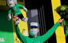 Wearing his Irish champion's tunic Sam Bennett narrowly edged Australia's Caleb Ewan while peloton superstar Peter Sagan came third to cede the green jersey on a sunny day attended by more fans than on any previous day. Picture: Twitter/ @LeTour