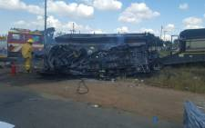Nineteen schoolchildren and the driver were killed when a minibus taxi collided with a truck on Groblersdal road on 21 April. Picture: Twitter/@ER24EMS.