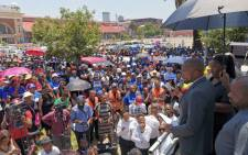 Democratic Alliance (DA) leader Mmusi Maimane addresses the crowd outside Gauteng Premier David Makhura's office for a memorial service for the victims of the Life Esidimeni tragedy. Picture: @Our_DA/Twitter.