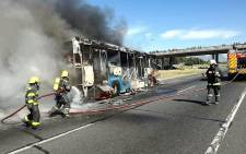 A MyCiTi bus was torched on the N2 highway on 18 September 2017 during a taxi strike in Cape Town. Picture: Supplied