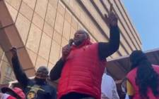 A screengrab of Numsa's Irvin Jim addressing striking members at the Mary Fitzgerald Square in Newton on 5 October 2021.