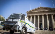 A police water cannon stands in front of the Great Hall on Wits University's main campus during student protests over tertiary education fees on 11 October 2016. Picture: Reinart Toerien/EWN.