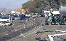 Several cars were involved in a massive accident after a truck lost control and crashed into other cars on the N12 East near the Voortrekker offramp on 14 October 2014. Picture: EWN Traffic.