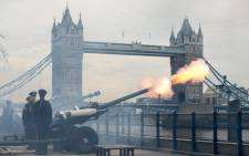 Members of the Honourable Artillery Company fire a 62 round royal gun salute from the Gun Wharf outside the Tower of London with Tower Bridge seen in the background to mark the anniversary of Queen Elizabeth II's accession to the throne in London on 6 February, 2017. Picture: AFP.
