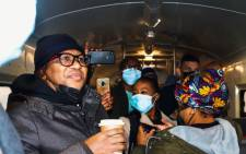 Transport Minister Fikile Mbalula on a train to Cape Town on 3 August 2021 as he assesses Prasa's progress on getting its operations running again. Picture: @MbalulaFikile/Twitter