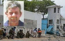 Alan Simpson (inset), who died in an attack in Somalia. Picture: AFP & Denel.