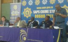 Police Minister Bheki Cele (centre) has provided feedback on the successes of SAPS and the challenges experienced with Operation Thunder in the Western Cape. Picture: Twitter/ @SAPoliceService.