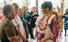 The Duchess of Sussex met officials from across Fijian society, including people involved in women's empowerment, at the High Commissioner's residence during the royal visit in Fiji. Picture: @KensingtonRoyal/Twitter.