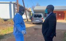 MEC for Education in Gauteng Panyaza Lesufi visited the Buyani Primary School in Finetown on 18 June 2021 after the principal was shot and killed on the school premises. Picture: Gauteng Department of Education.