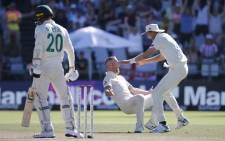 Ben Stokes took the last three wickets in the space of 14 balls to clinch the victory. He finished with three for 35. Credit: AFP