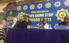 Police Minister Bheki Cele, along with other police officials, addressed the Hout Bay community on 8 April following deadly taxi violence in the area. Pucture: Monique Mortlock/EWN.
